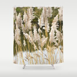 Canal side grass Shower Curtain