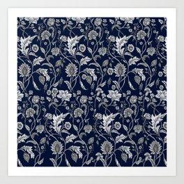 Blue Floral - 5 Art Print