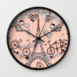 Funny Eiffel Tower Art Print Wall Clock