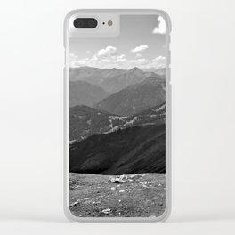 panorama on adventure park hög alps serfaus fiss ladis tyrol austria europe black white Clear iPhone Case