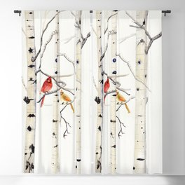 Birch Trees and Cardinal Blackout Curtain