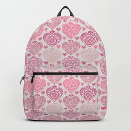Pink Heart Valentine's Doilies Pattern Backpack