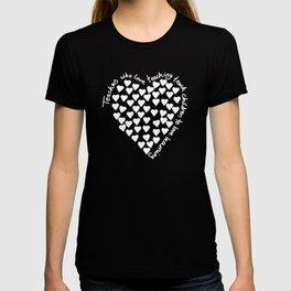 Hearts Heart Teacher White on Black T-shirt