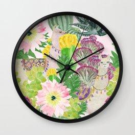 llamas+cactus Wall Clock