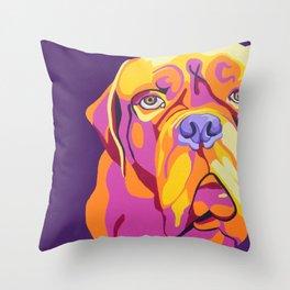 Psychedelic Pup- Bull Mastiff Pet Portrait Throw Pillow