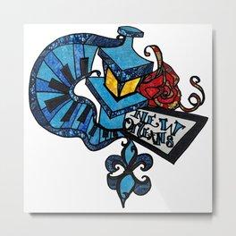 Blue Vibes Lamp post and Piano keys Metal Print