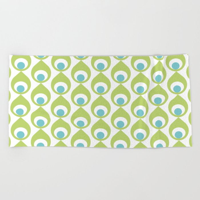 Retro Avocado Lime Green Beach Towel