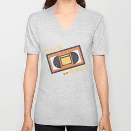 Please Rewind VHS Player Viedo Home Recorder Casette Machine Tapes Gift Unisex V-Neck
