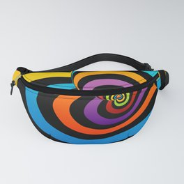 Valentine hearts twirling in rainbow colors Fanny Pack