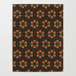 Autumn Leaves in Christmas Colors - Geometric Composition Poster