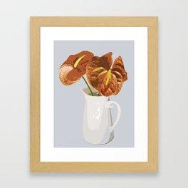 Anthurium in Vase - Golden Brown Framed Art Print