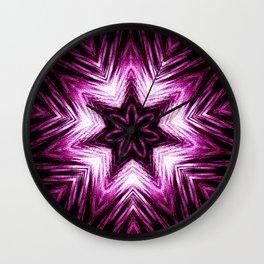 Bright Dark Violet Wine Red Abstract Blossom #purple #kaleidoscope Wall Clock