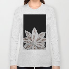 Gray Agave with Rose Gold Glitter #2 #shiny #tropical #decor #art #society6 Long Sleeve T-shirt