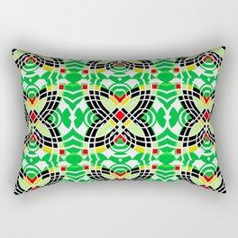 Retro Green Tile Butterfly Vintage Geometric Print Rectangular Pillow
