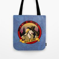 river song Tote Bags featuring Where In Time and Space Is River Song? by mikaelak