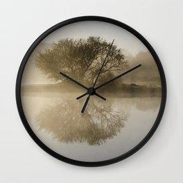 Misty Sunrise Landscape Wall Clock