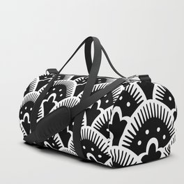 Fan Pattern Black & White 201 Duffle Bag