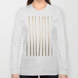 Simply Drawn Vertical Stripes in White Gold Sands Long Sleeve T-shirt