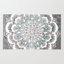 Pastel Floral Medallion on Faded Silver Wood Rug