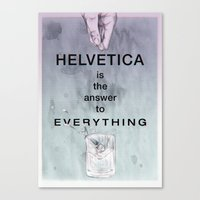 helvetica Canvas Prints featuring Helvetica by Vera rubinchik