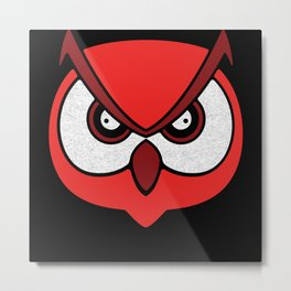 Big Owl Face with Angry Eyes Bright Easy Halloween Metal Print