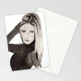 Hi-Fashion model pose painting in black and white Stationery Cards