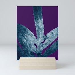 Midnight Sepia Navy Blue Purple Fern Mini Art Print