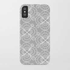 Silver grey lacey floral Slim Case iPhone X