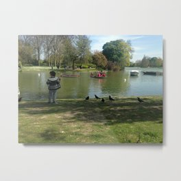 kid Paris feeding the birds Metal Print