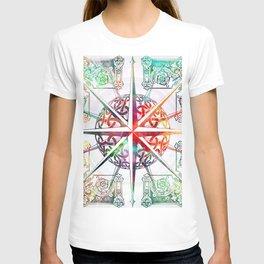 Travellers Spirit Colourful Celtic Travel Adventure Compass Design T-shirt