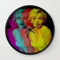 marilyn Wall Clocks featuring Marilyn  by Laure.B