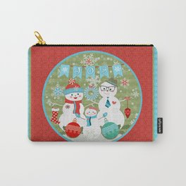 Winter Snowmen Family Holiday Christmas Art Carry-All Pouch