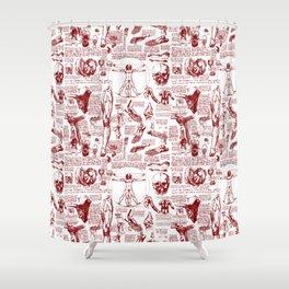 Da Vinci's Anatomy Sketchbook // Dark Red Shower Curtain