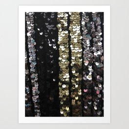 Sequins in Black, Gold and Silver Art Print