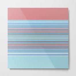 Pastel Baby Blue Pink Stripes Metal Print