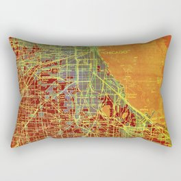 Chicago Illinois old map year 1947, vintage usa maps, colorful art Rectangular Pillow