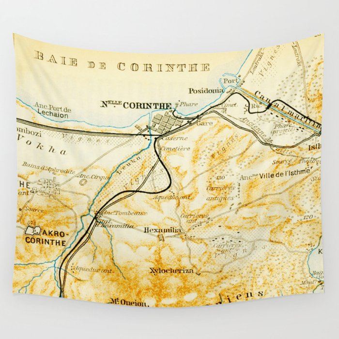 Vintage Map Of Corinth Greece 1894 Wall Tapestry By Bravuramedia