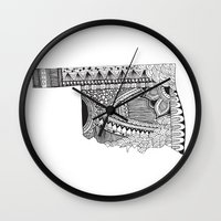 oklahoma Wall Clocks featuring Oklahoma by Line Upon Line Designs