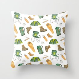 Watercolor camping pattern Throw Pillow