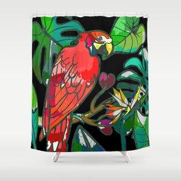 Parrot macaw, tropical bird print Shower Curtain