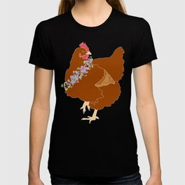 Red Hen Spring Chicken Flower Illustration T-shirt