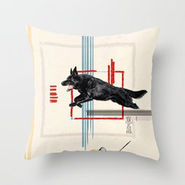 Dog in Action Throw Pillow