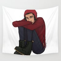 zayn Wall Tapestries featuring Comfy Zayn by Ashley R. Guillory