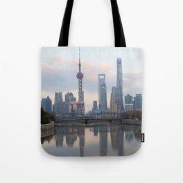 Shanghai skyline with Waibaidu Tote Bag
