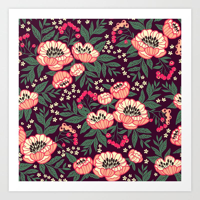 11 Floral Pattern With Peonies Bright Pink Flowers Dark Violet