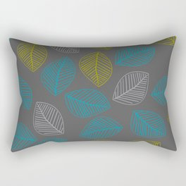 Mid Century Modern Falling Leaves Turquoise Chartreuse Gray Rectangular Pillow