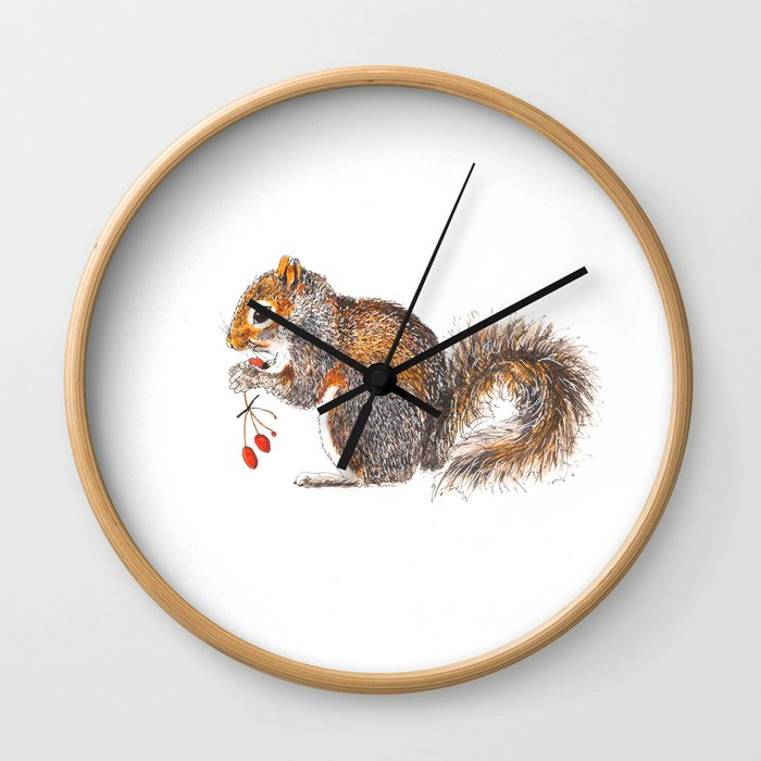 Berries Squirrel Wall Clock
