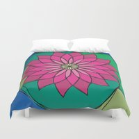 lotus Duvet Covers featuring Lotus by The Lion Farm