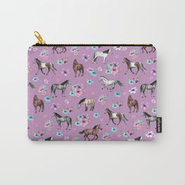 Purple Horse and Flower Print, Hand Drawn, Horse Illustration, Little Girls Decor Carry-All Pouch