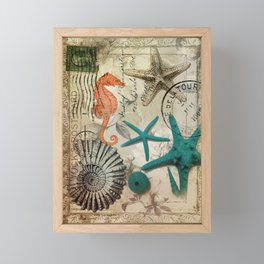 french botanical art seahorse teal green starfish Framed Mini Art Print